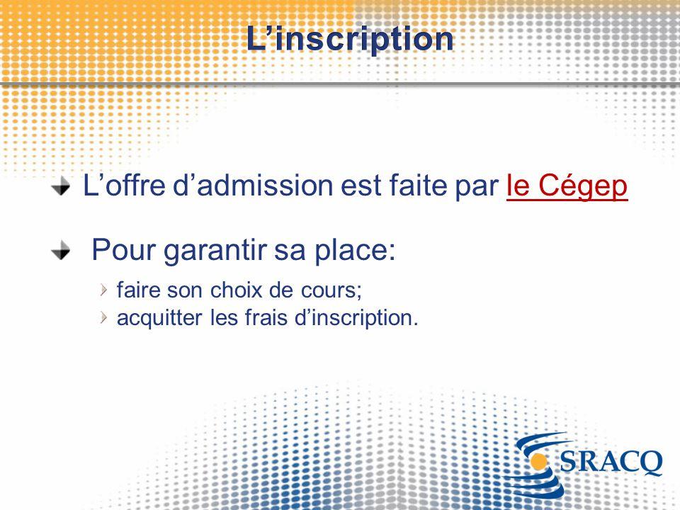 L'inscription L'offre d'admission est faite par le Cégep