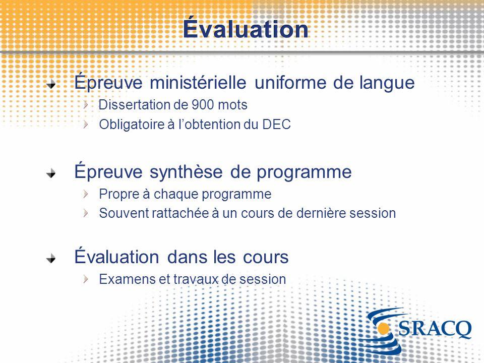 Évaluation Épreuve ministérielle uniforme de langue