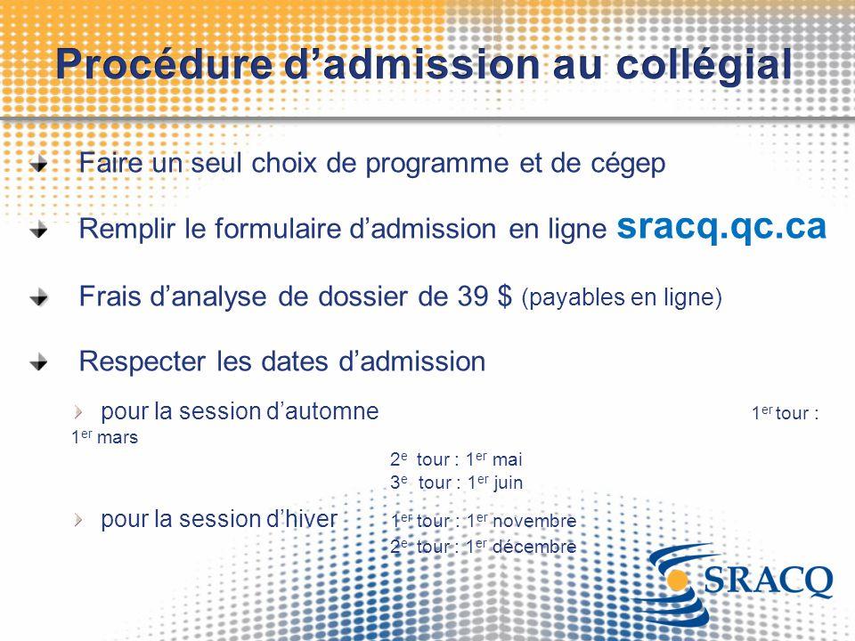 Procédure d'admission au collégial