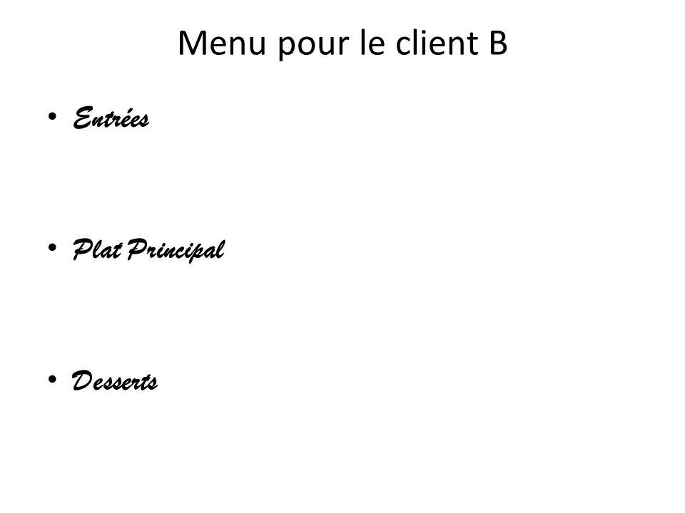 Menu pour le client B Entrées Plat Principal Desserts