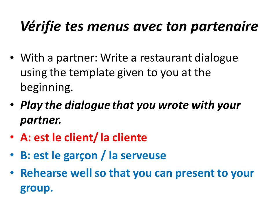 Vérifie tes menus avec ton partenaire