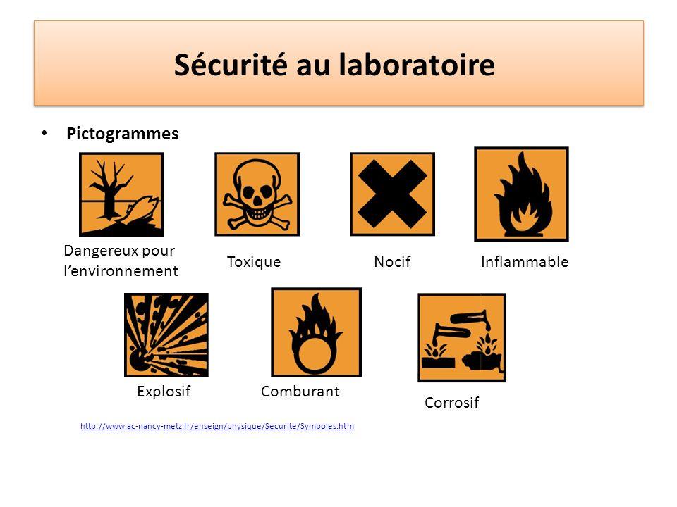 Sécurité au laboratoire