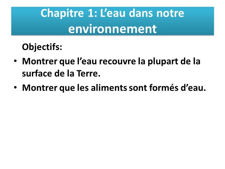 Chapitre 1: L'eau dans notre environnement