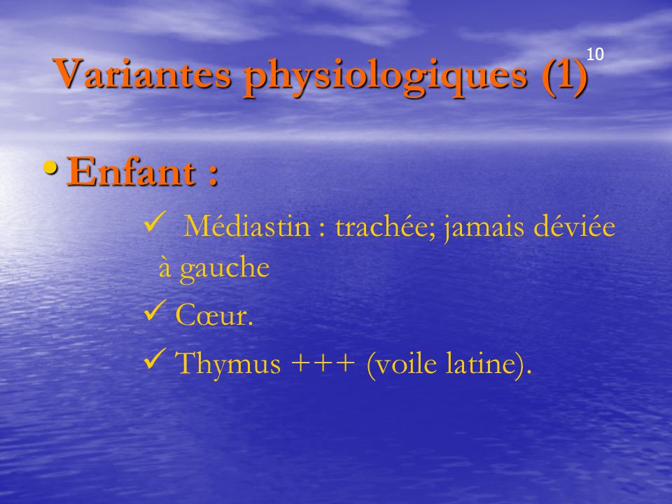 Variantes physiologiques (1)