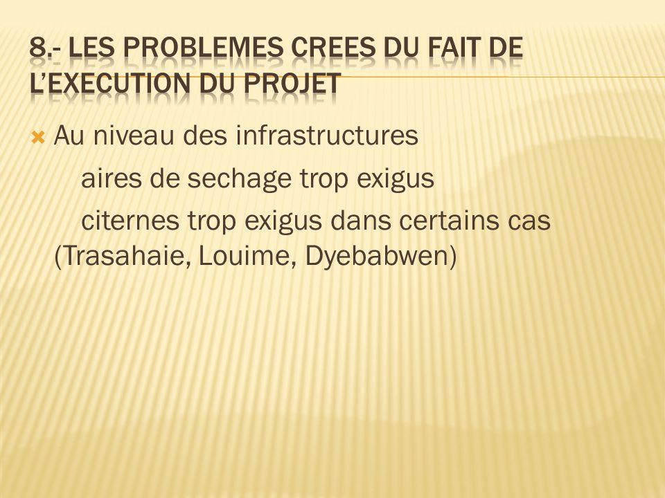 8.- Les problemes crees du fait de l'execution du projet