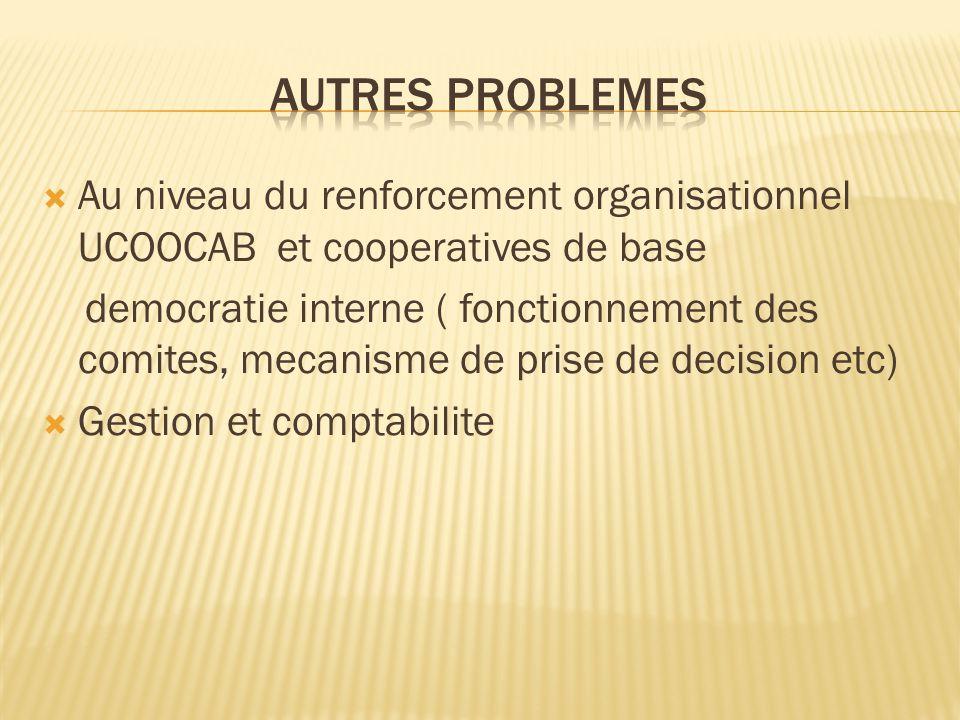 Autres problemes Au niveau du renforcement organisationnel UCOOCAB et cooperatives de base.