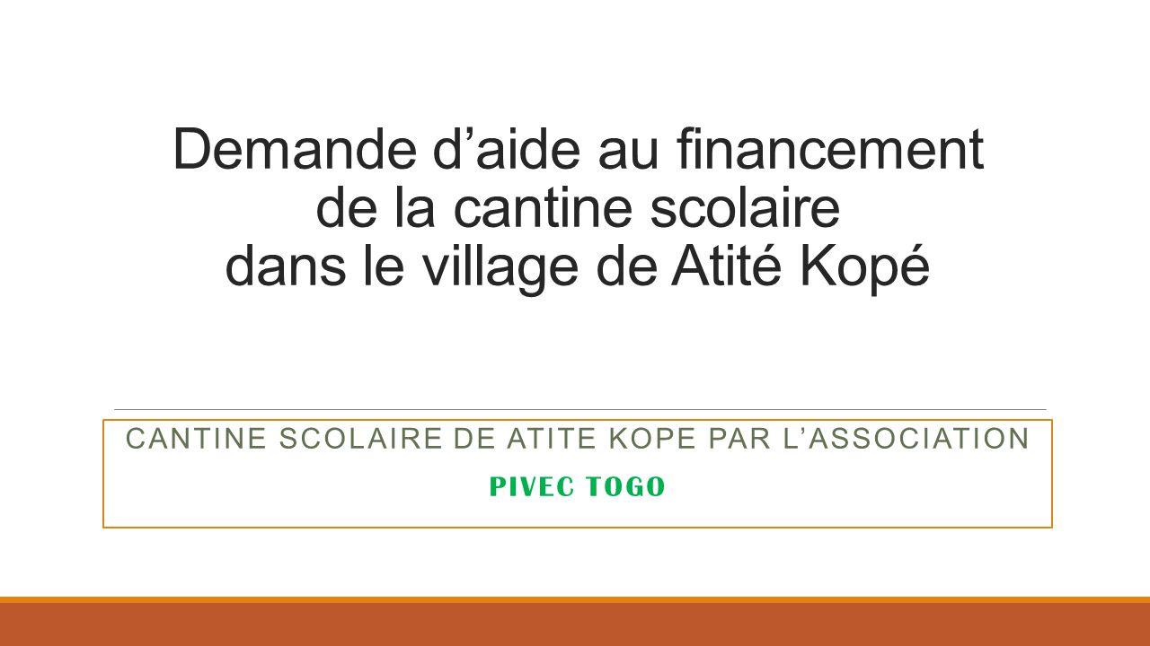 CANTINE SCOLAIRE DE ATITE KOPE PAR L'ASSOCIATION PIVEC TOGO
