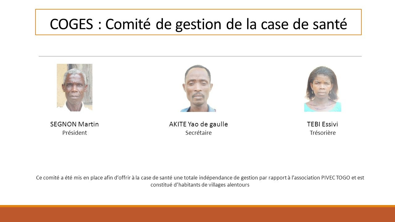 COGES : Comité de gestion de la case de santé