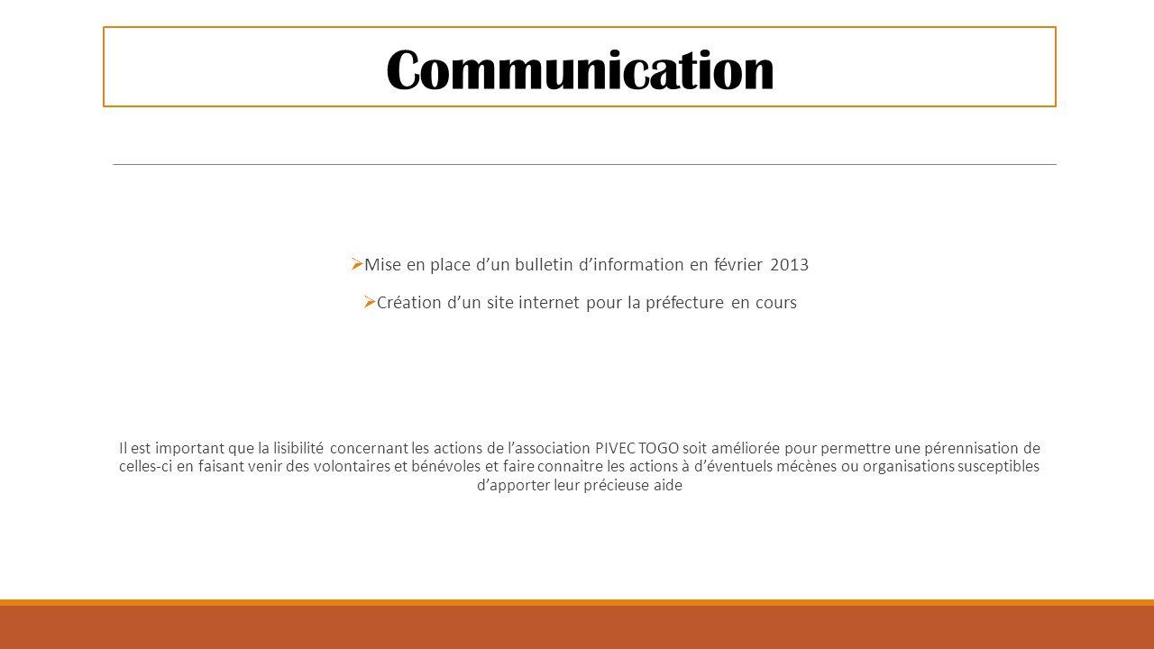 Communication Mise en place d'un bulletin d'information en février 2013. Création d'un site internet pour la préfecture en cours.