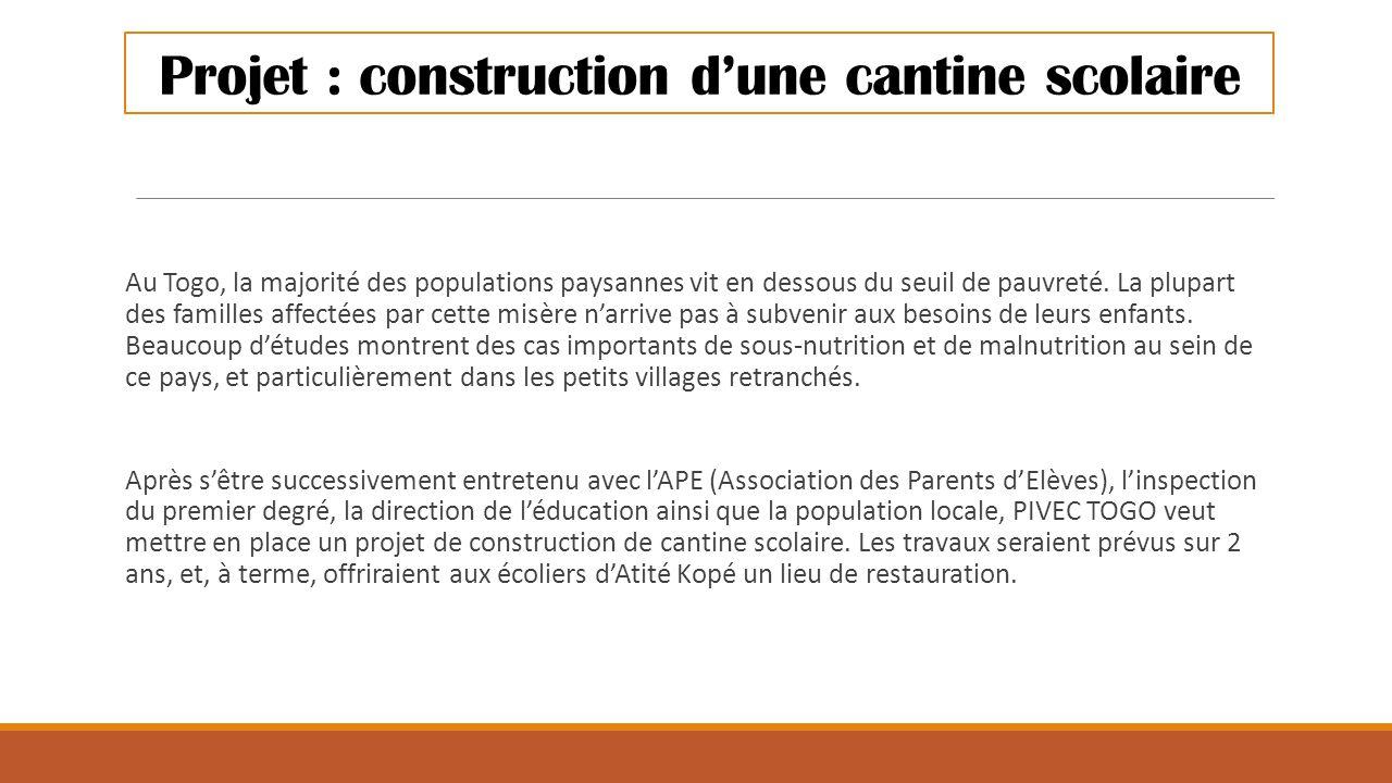Projet : construction d'une cantine scolaire