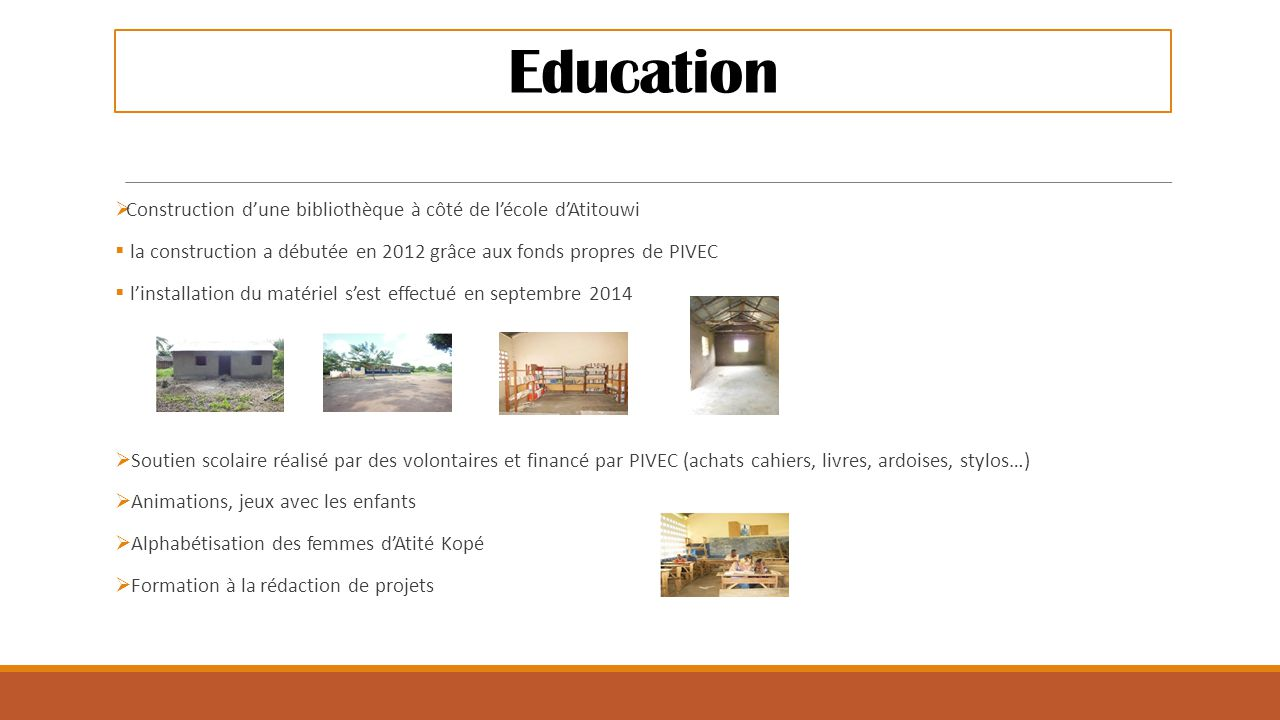 Education Construction d'une bibliothèque à côté de l'école d'Atitouwi