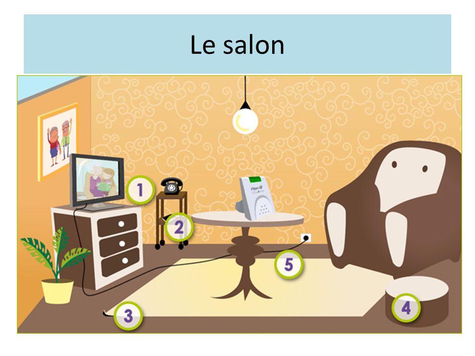 Le salon Les fils électriques doivent être fixés au mur ou dans des gouttières range-fils. Les tapis doivent être fixés au sol ou enlevés.