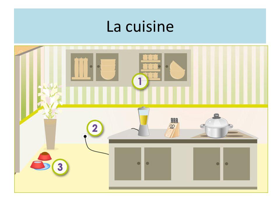 La cuisine Les objets situés trop haut sont rangés de manière accessible.