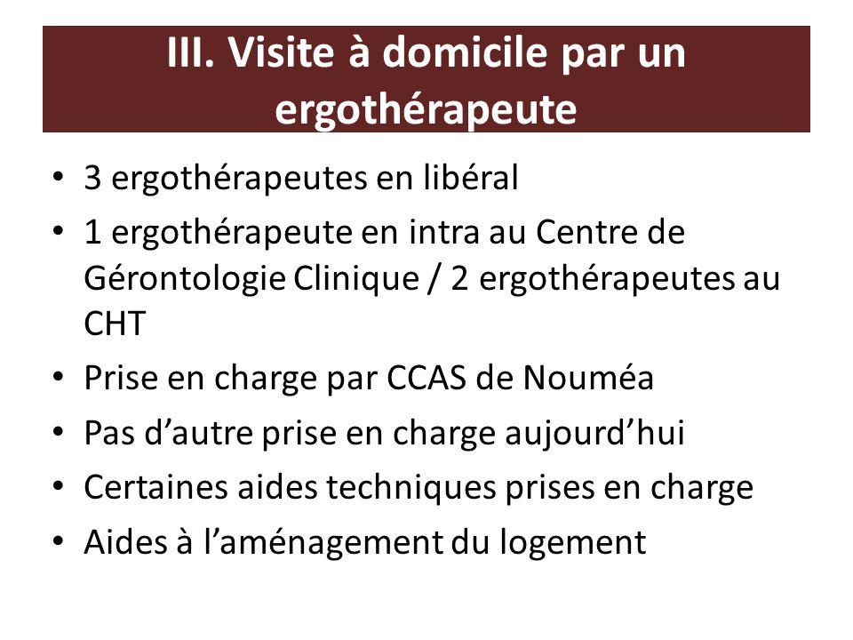 III. Visite à domicile par un ergothérapeute