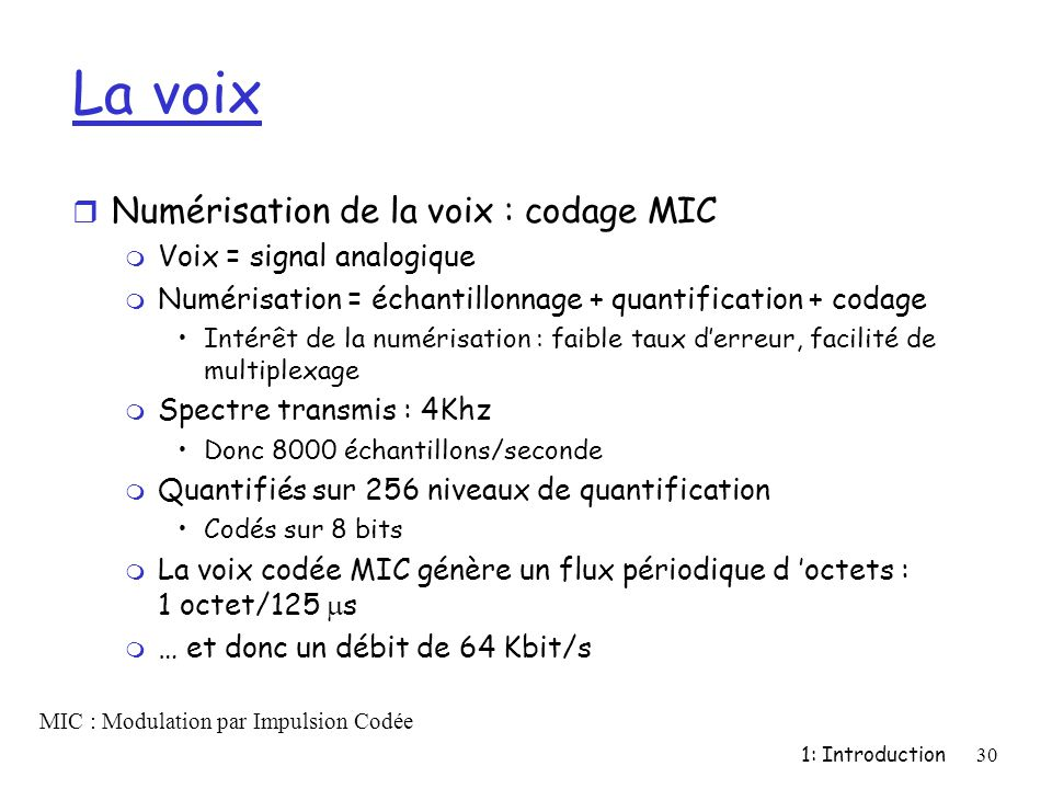 La voix Numérisation de la voix : codage MIC Voix = signal analogique