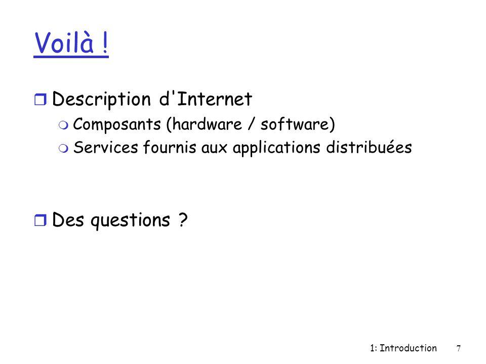 Voilà ! Description d Internet Des questions