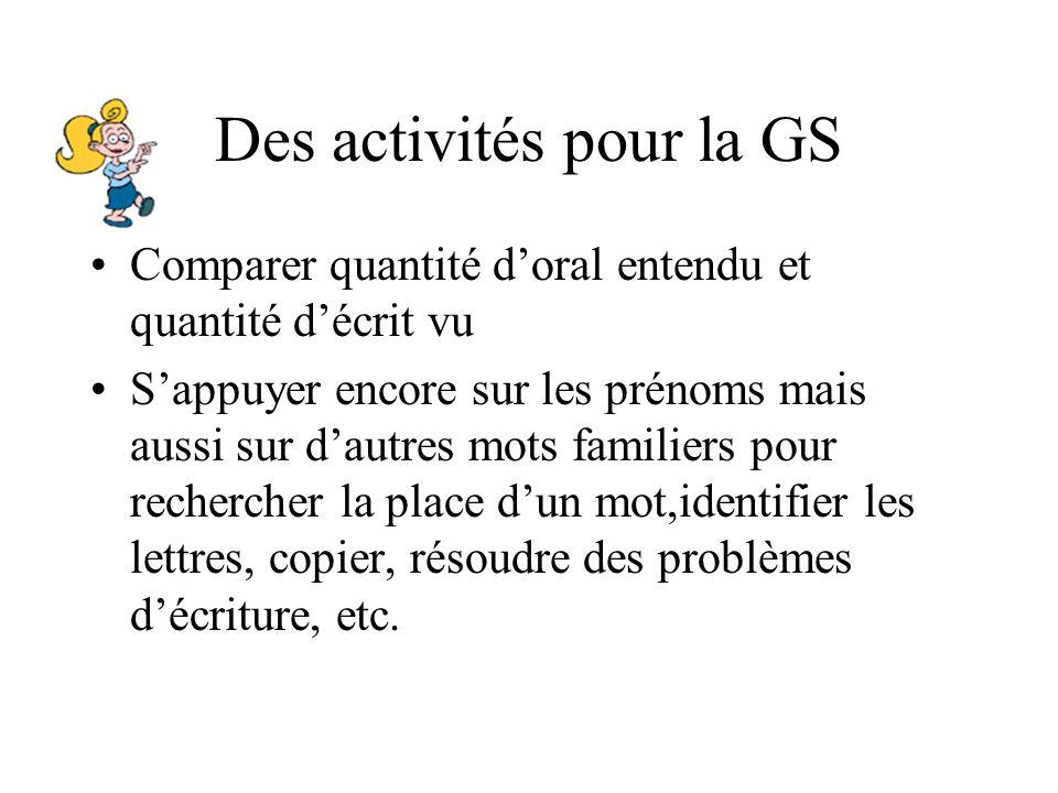 Des activités pour la GS