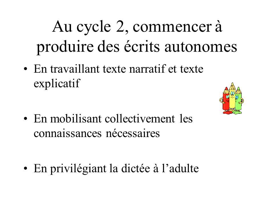 Au cycle 2, commencer à produire des écrits autonomes
