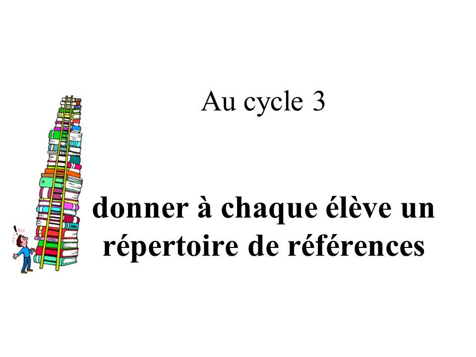 Au cycle 3 donner à chaque élève un répertoire de références