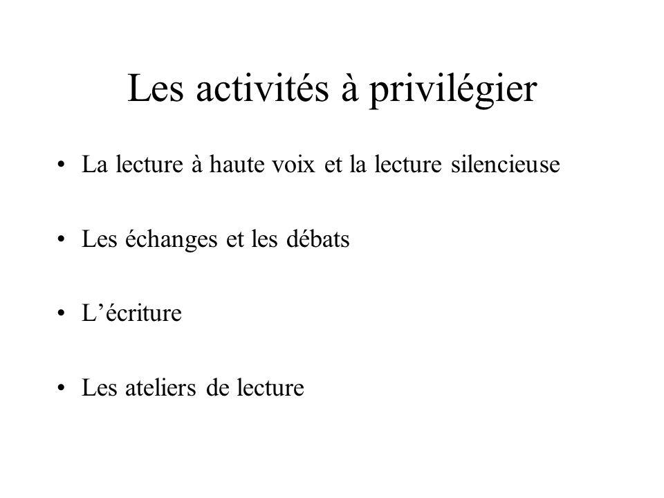 Les activités à privilégier