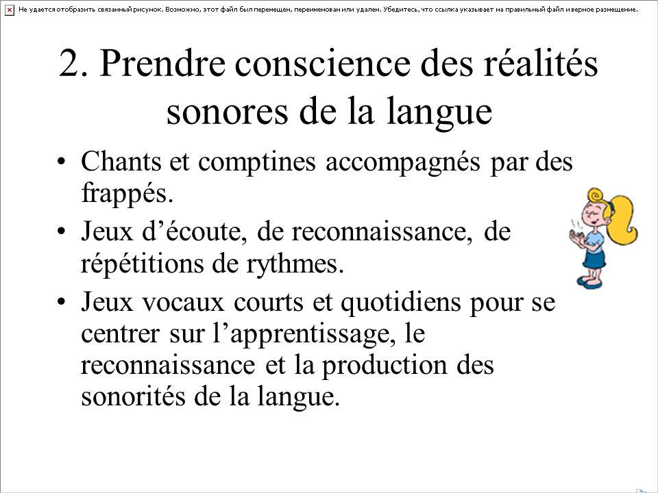 2. Prendre conscience des réalités sonores de la langue