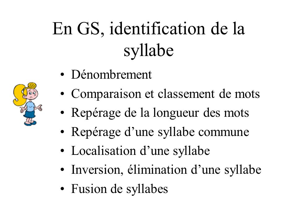 En GS, identification de la syllabe