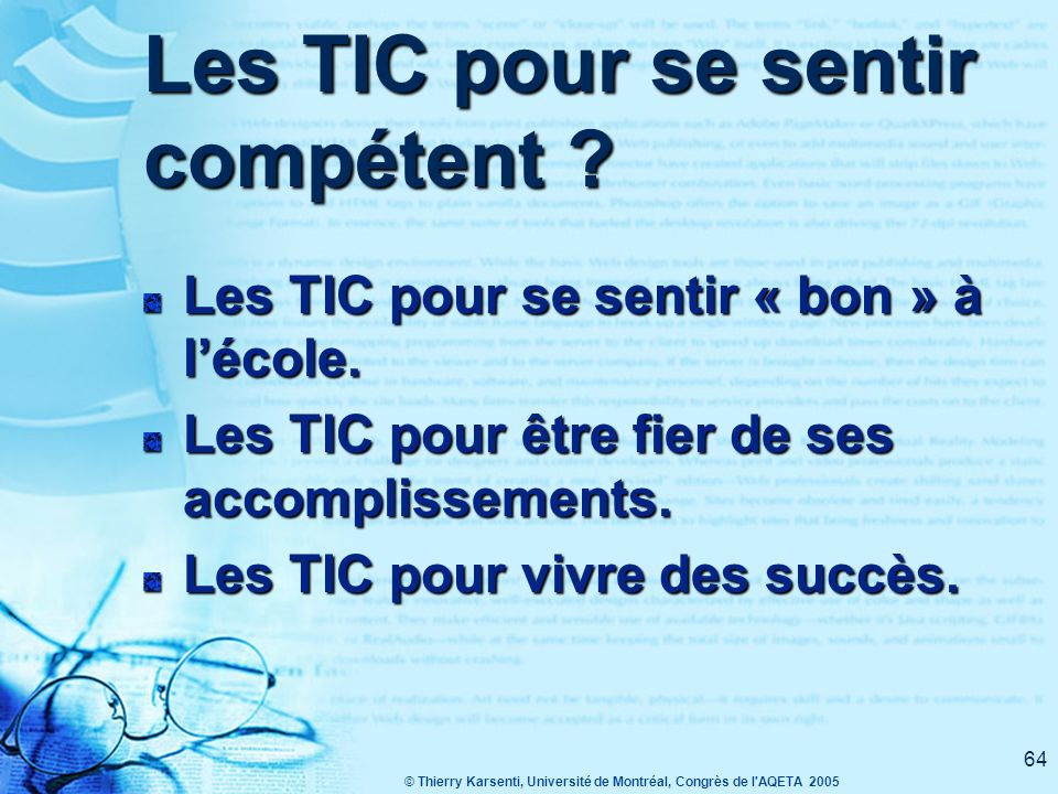 Les TIC pour se sentir compétent