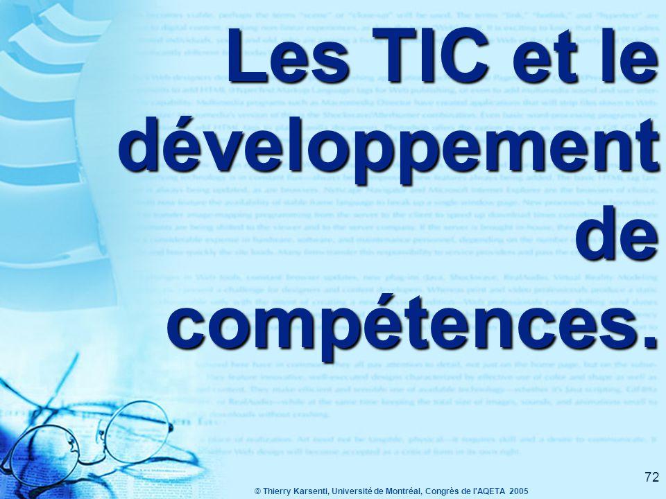 Les TIC et le développement de compétences.