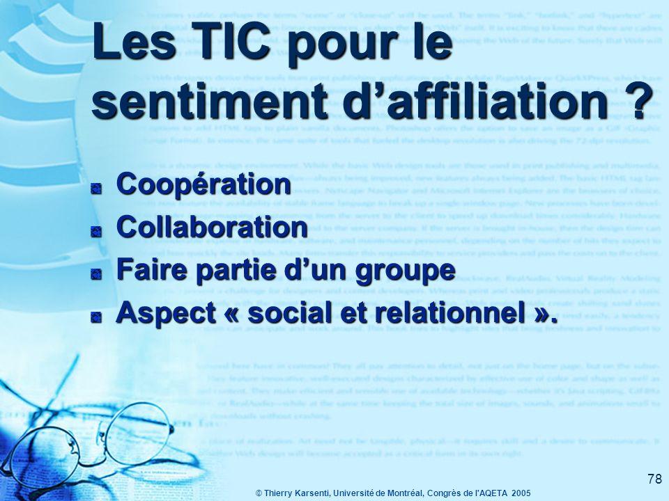 Les TIC pour le sentiment d'affiliation