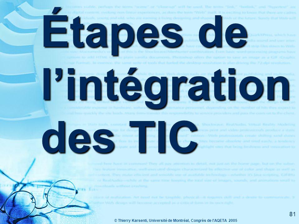 Étapes de l'intégration des TIC