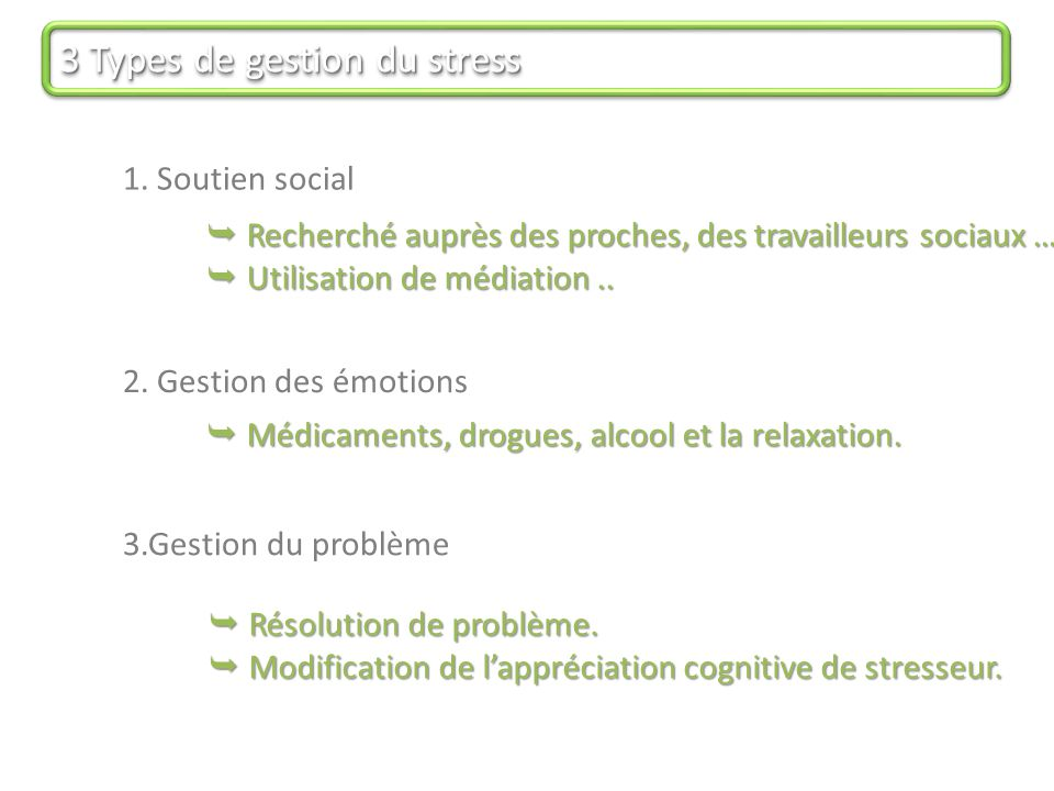3 Types de gestion du stress