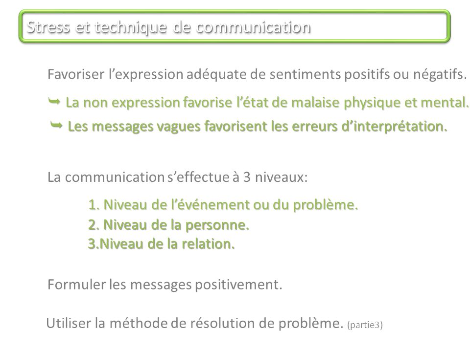 Stress et technique de communication