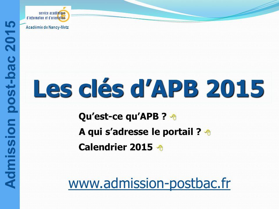 Les clés d'APB 2015 www.admission-postbac.fr Qu'est-ce qu'APB 