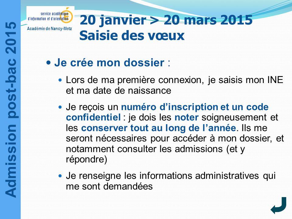 20 janvier > 20 mars 2015 Saisie des vœux