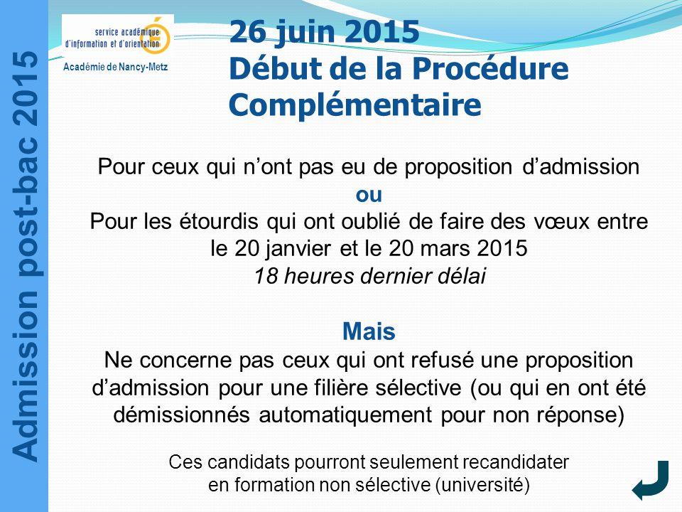 26 juin 2015 Début de la Procédure Complémentaire