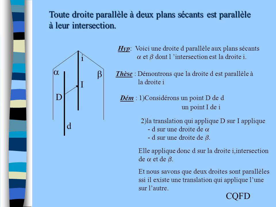 Toute droite parallèle à deux plans sécants est parallèle