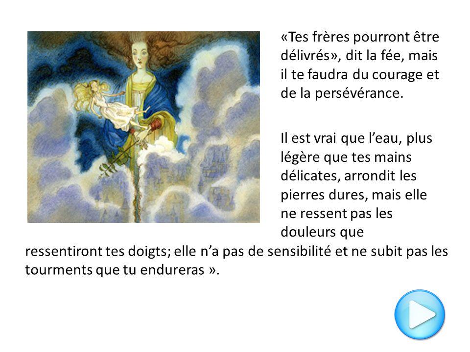 «Tes frères pourront être délivrés», dit la fée, mais il te faudra du courage et de la persévérance. Il est vrai que l'eau, plus légère que tes mains délicates, arrondit les pierres dures, mais elle ne ressent pas les douleurs que