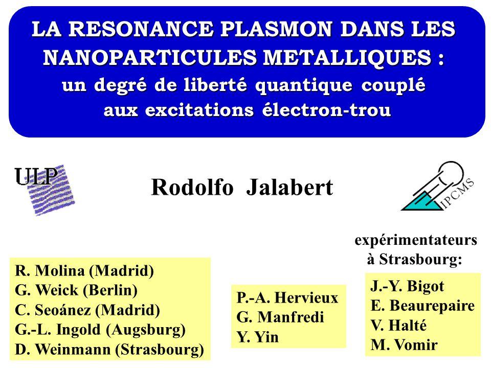 Rodolfo Jalabert LA RESONANCE PLASMON DANS LES
