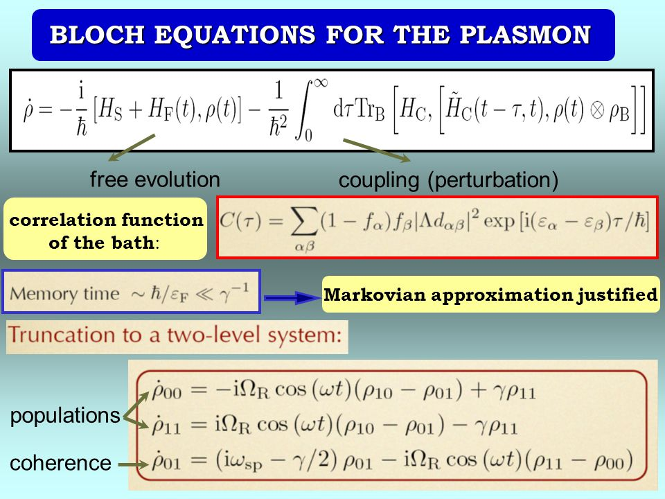 BLOCH EQUATIONS FOR THE PLASMON Markovian approximation justified