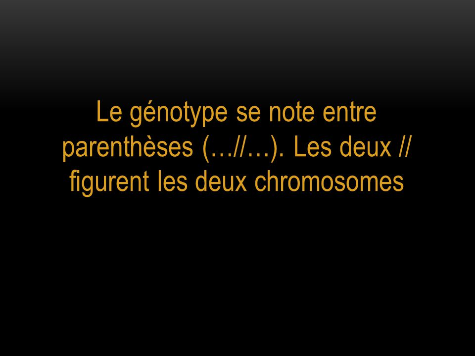 Le génotype se note entre parenthèses (…//…)