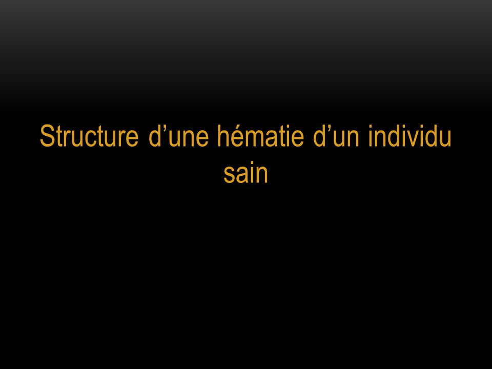 Structure d'une hématie d'un individu sain