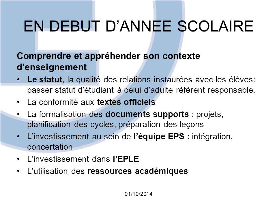 EN DEBUT D'ANNEE SCOLAIRE