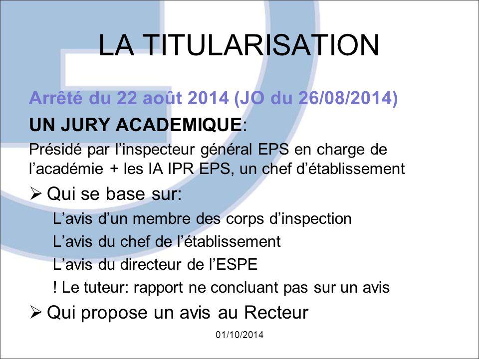 LA TITULARISATION Arrêté du 22 août 2014 (JO du 26/08/2014)