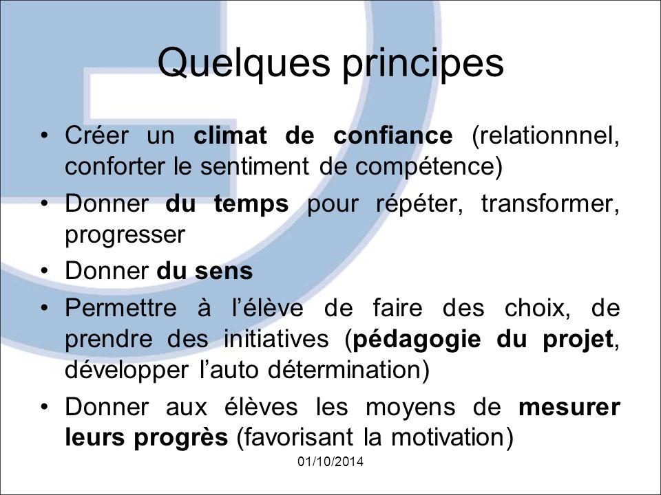 Quelques principes Créer un climat de confiance (relationnnel, conforter le sentiment de compétence)
