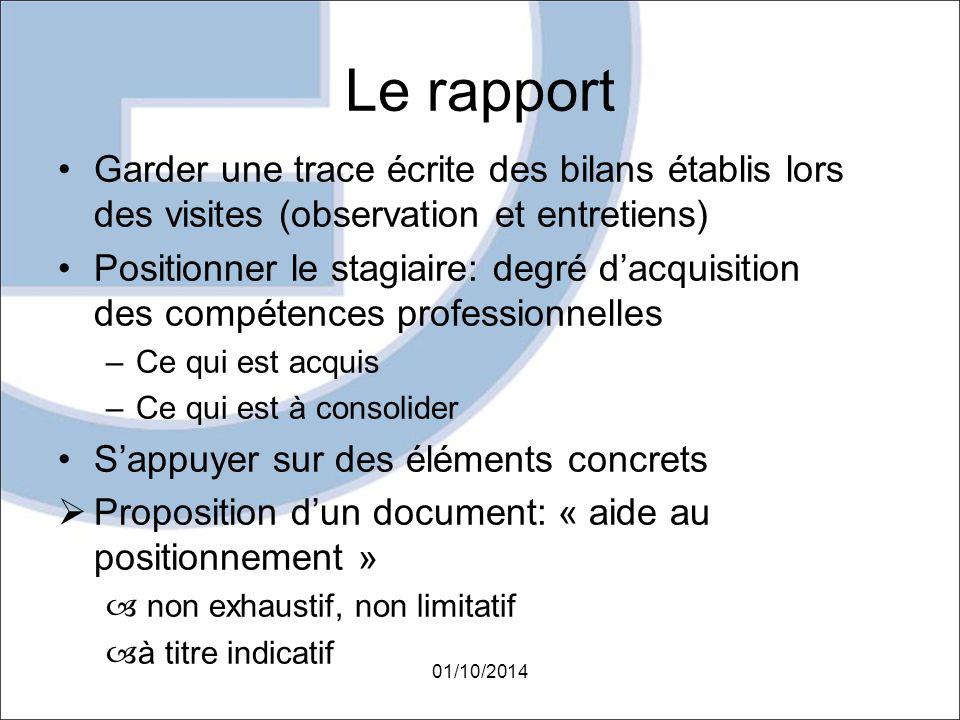 Le rapport Garder une trace écrite des bilans établis lors des visites (observation et entretiens)