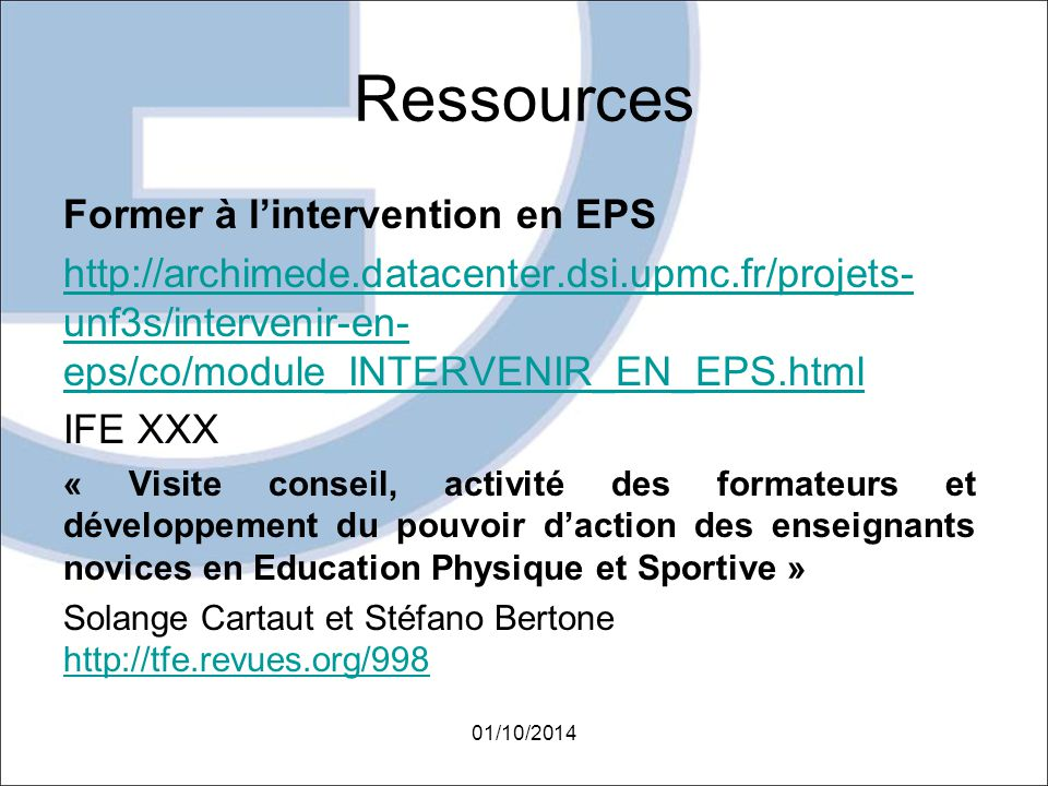 Ressources Former à l'intervention en EPS