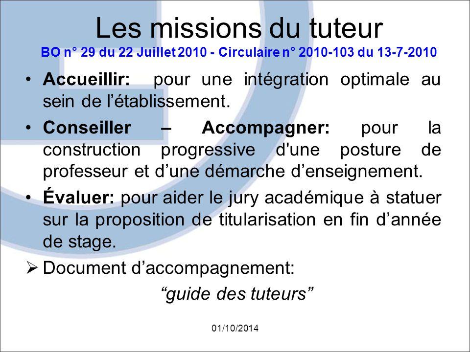 Les missions du tuteur BO n° 29 du 22 Juillet 2010 - Circulaire n° 2010-103 du 13-7-2010