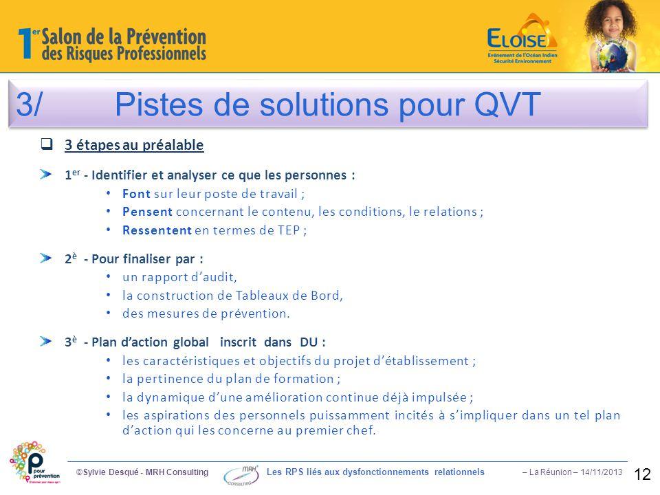 3/ Pistes de solutions pour QVT