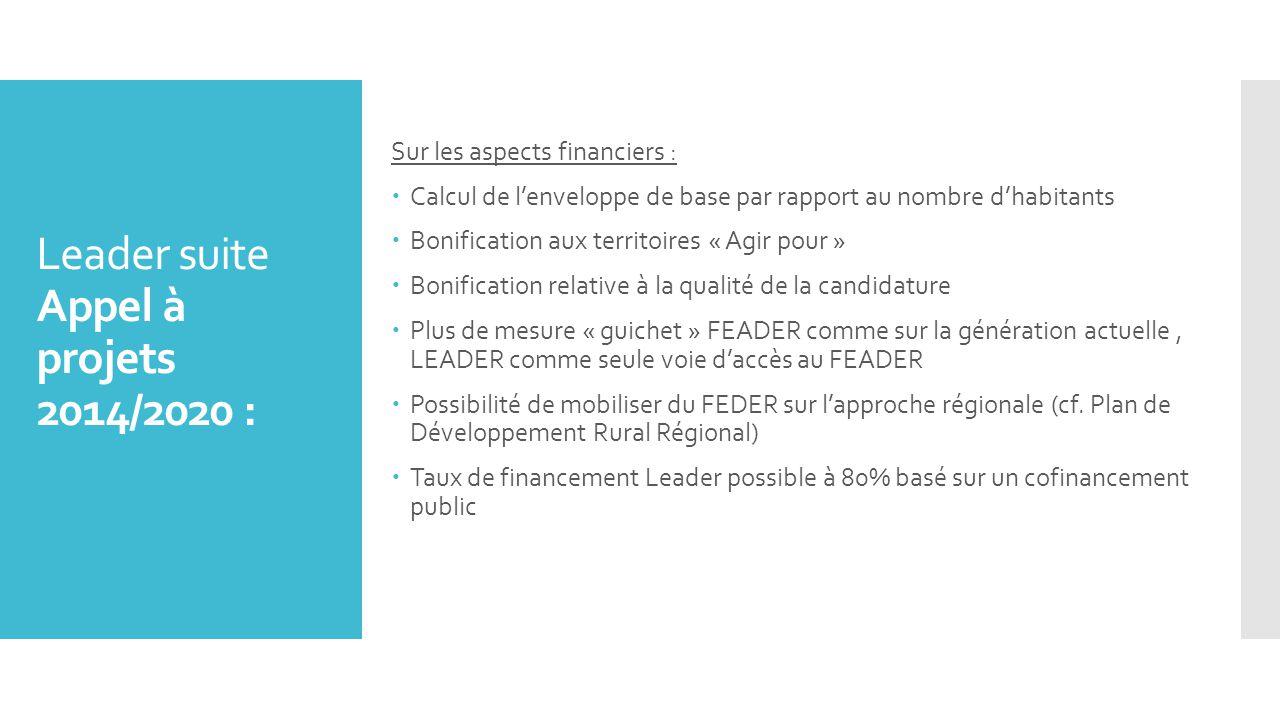 Leader suite Appel à projets 2014/2020 :