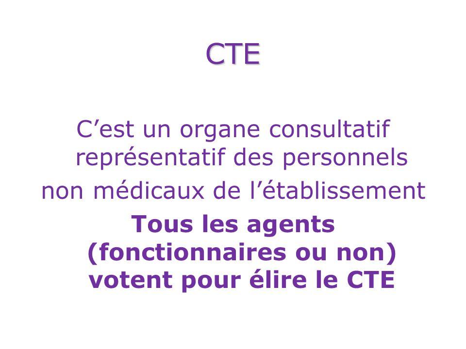 Tous les agents (fonctionnaires ou non) votent pour élire le CTE